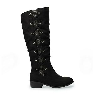 NEW SO Sloth Black Knee High Sweater Boots Size 8